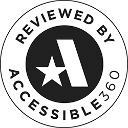 An Accessible360 badge sharing that we've partnered with an industry-leading ADA vendor who maintains our site is in good standing with accessibility.